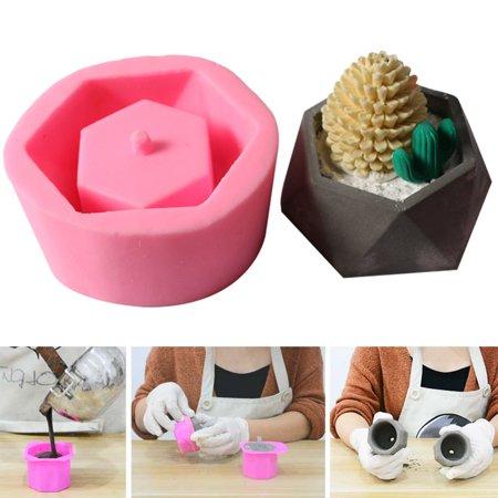 Silicone Flower Pot Mold DIY Handmade Craft  3D Geometric Concrete Succulent Plant Craft Garden Home Decoration (Concrete Mold Pots)