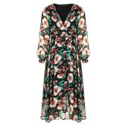 Womens Chiffon Floral Print Wrap V Neck Flowy Pleated Wedding Maxi Dress BlackM