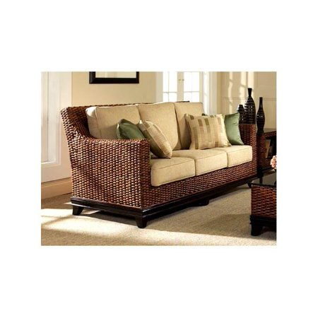 Biscayne Rattan Sofa w 4 Toss Cushions in Royal Oak (641)
