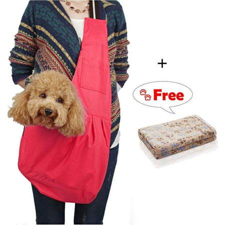 LUXMO Hands-Free Pet Sling Carrier Bag Small Dog Cat Adjustable Single Shoulder Travel