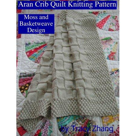 Basketweave Band - Aran Crib Quilt Knitting Pattern Moss and Basketweave Design - eBook