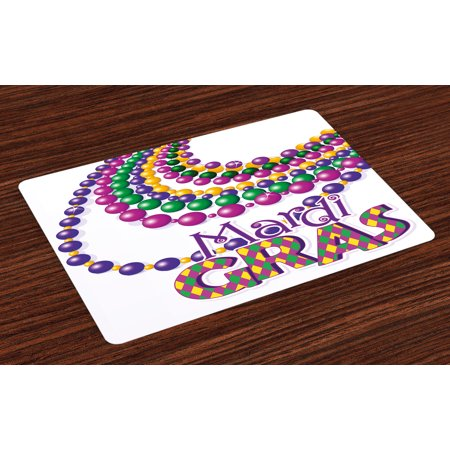 Party Place Website (Mardi Gras Placemats Set of 4 Colorful Beads Party Necklaces with Mardi Gras Calligraphy Patterned Design, Washable Fabric Place Mats for Dining Room Kitchen Table Decor,Multicolor, by)