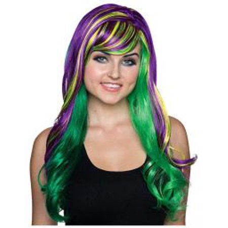 Mardi Gras Wigs (Ladies Fancy Purple and Green Mardi Gras)