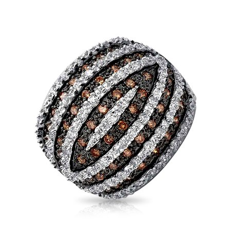 Tri Color Brown Black White CZ Banded Dome Pave Fashion Statement Ring Cubic Zirconia Rhodium Plated -