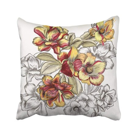 WOPOP Colorful Floral Beautiful With Rose Flowers In Engraved And Watercolor s Pink Vance Pillowcase Throw Pillow Cover Case 20x20 inches