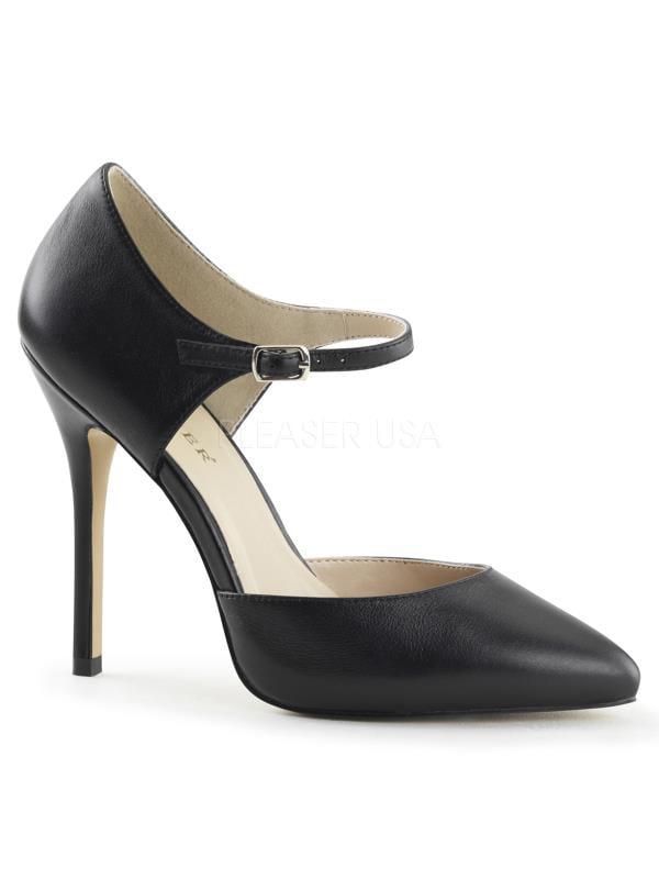 """AMU35/BLE Pleaser Single Soles 5"""" Heel Shoes Blk Le Size: 9"""