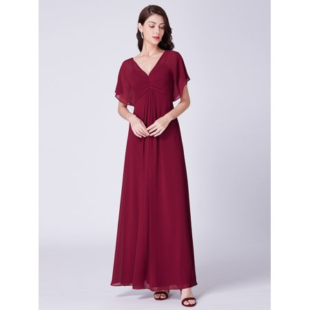 Ever-Pretty Womens Sexy Long Deep V-Neck Short Sleeve Black Tie Evening Prom Ball Gown Bridesmaid Dresses for Women 07421 Burgundy US (Aidan Mattox Deep V Neck Ball Gown)