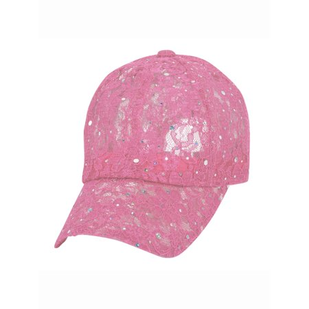 SS Sophia - Sequin Lace Glitter Adjustable Baseball Cap - Walmart.com 91e21c67619