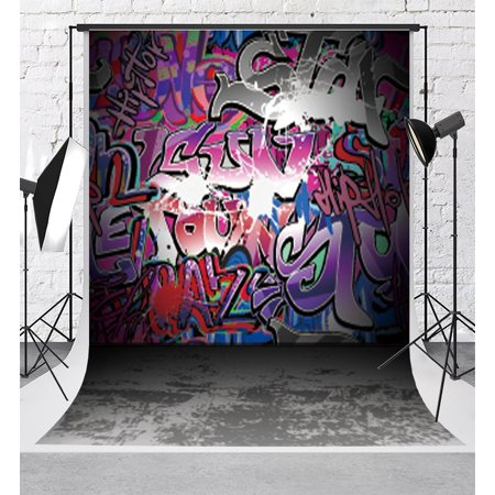 MOHome Polyster Graffiti Photography Backdrops Colorful Letters Graffiti Wall Background Photo 5x7ft for 90s Party Backdrop Props](90s Props)