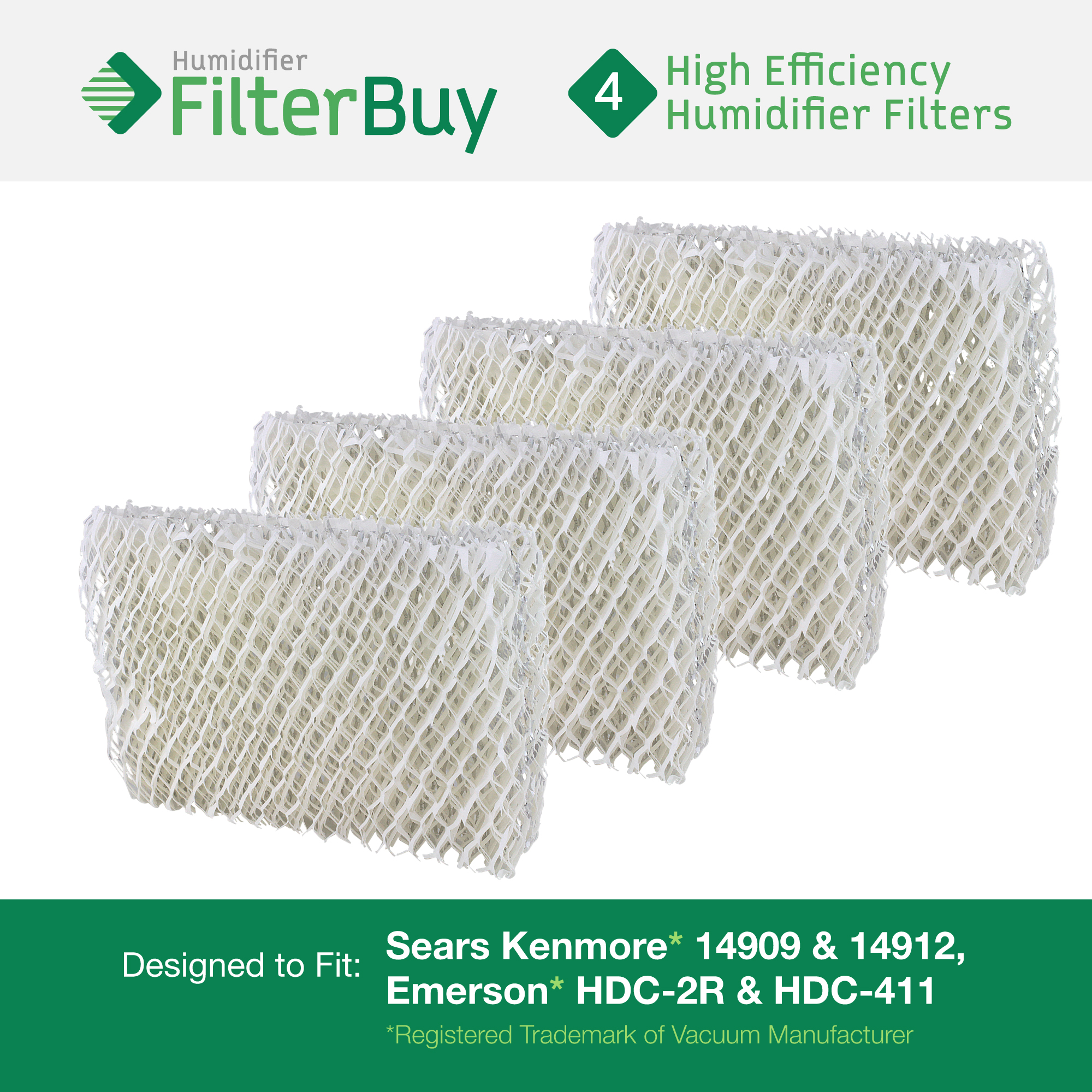 Emerson HDC-2R & HDC-411, Sears Kenmore 14909 & 14912 Humidifier Wick Filter. Designed by FilterBuy. Pack of 4 Filters.
