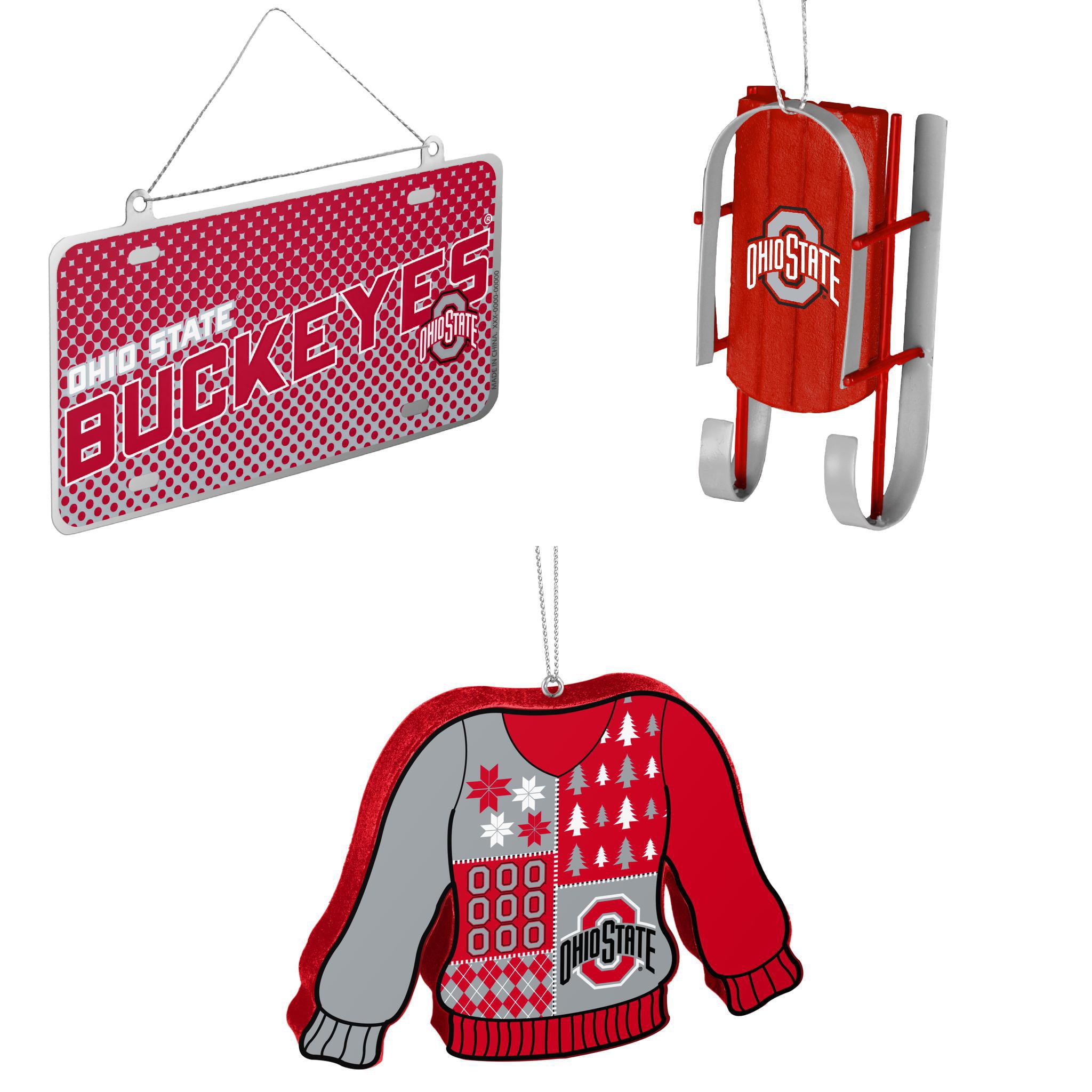 NCAA Ohio State Buckeyes Metal License Plate Christmas Ornament Sled ...