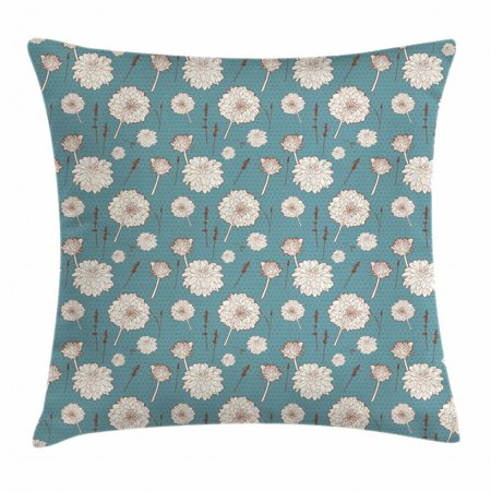 Aster Throw Pillow Cushion Cover, Vintage Flower Pattern Botanical Herbs Branches on Polka Dots Background, Decorative Square Accent Pillow Case, 16 X 16 Inches, Blue Off White Brown, by Ambesonne ()