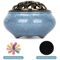 Deals on Incense Holder Burner, Ceramic Censer w/Cotton Bottom Shield