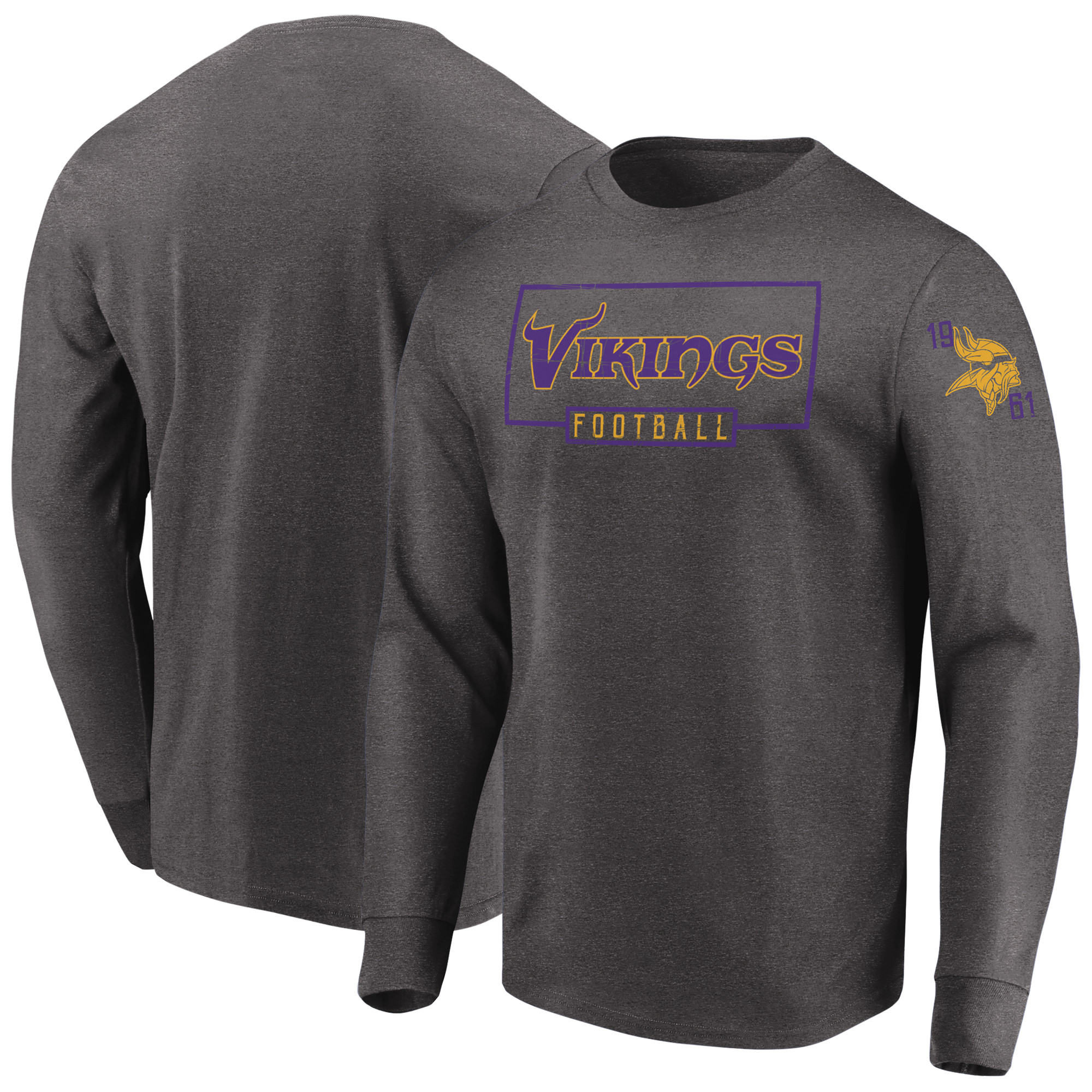 Minnesota Vikings Majestic Kick Return Long Sleeve T-Shirt - Heathered Charcoal