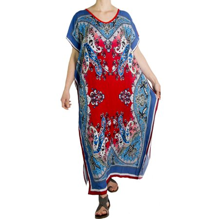 Sakkas Aggy Womens Dashiki African Print Caftan Dress Maxi Boho Hippie Colorful - Blue / Red - One Size Regular