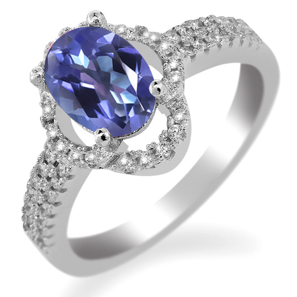 2.19 Ct Oval Purple Blue Mystic Topaz 925 Sterling Silver Ring