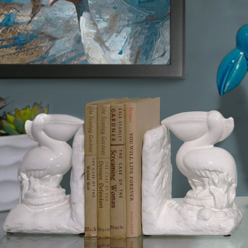 Urban Trends Ceramic Pelican Bird on Base Bookend (Set of 2)