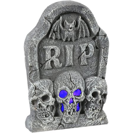 Ligth Up Skull Tombstone Halloween Decoration - Boarded Up Window Halloween Decoration