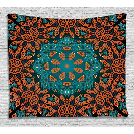 Psychedelic Tapestry, Round Flowers Florals with Psychedelic Motif Boho Hippie Decorations Image, Wall Hanging for Bedroom Living Room Dorm Decor, 80W X 60L Inches, Teal Orange, by Ambesonne
