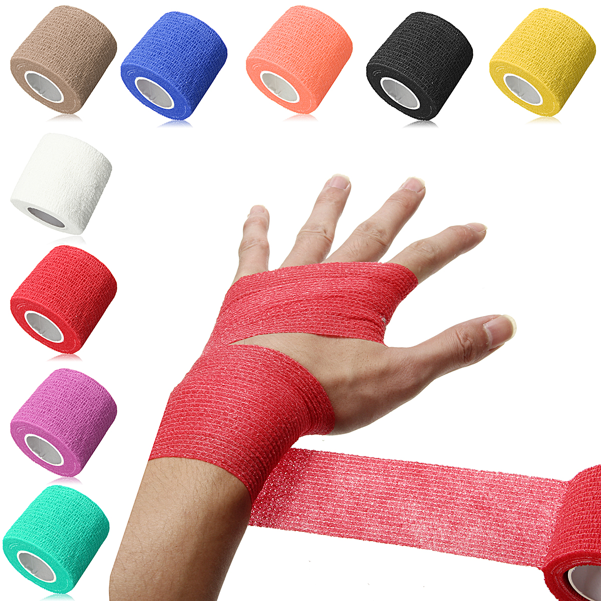 Water Resistant Sports Athletic Tape - Waterproof Physical Therapy Tape First Aid Medical Health Care Flexible Strong Elastic Cohesive Bandage Wrap Gauze Tape