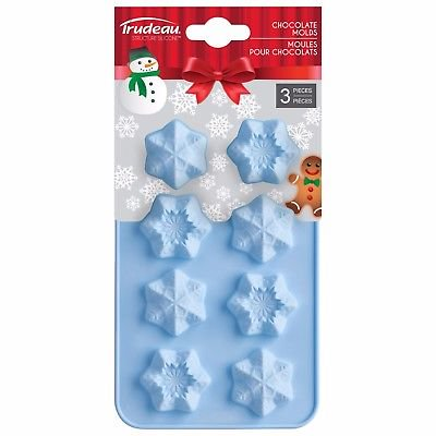 Trudeau Structure 8 Cup Holiday Snowflake Silicone Chocolate Mold - Set of 3](Snowflake Mold)