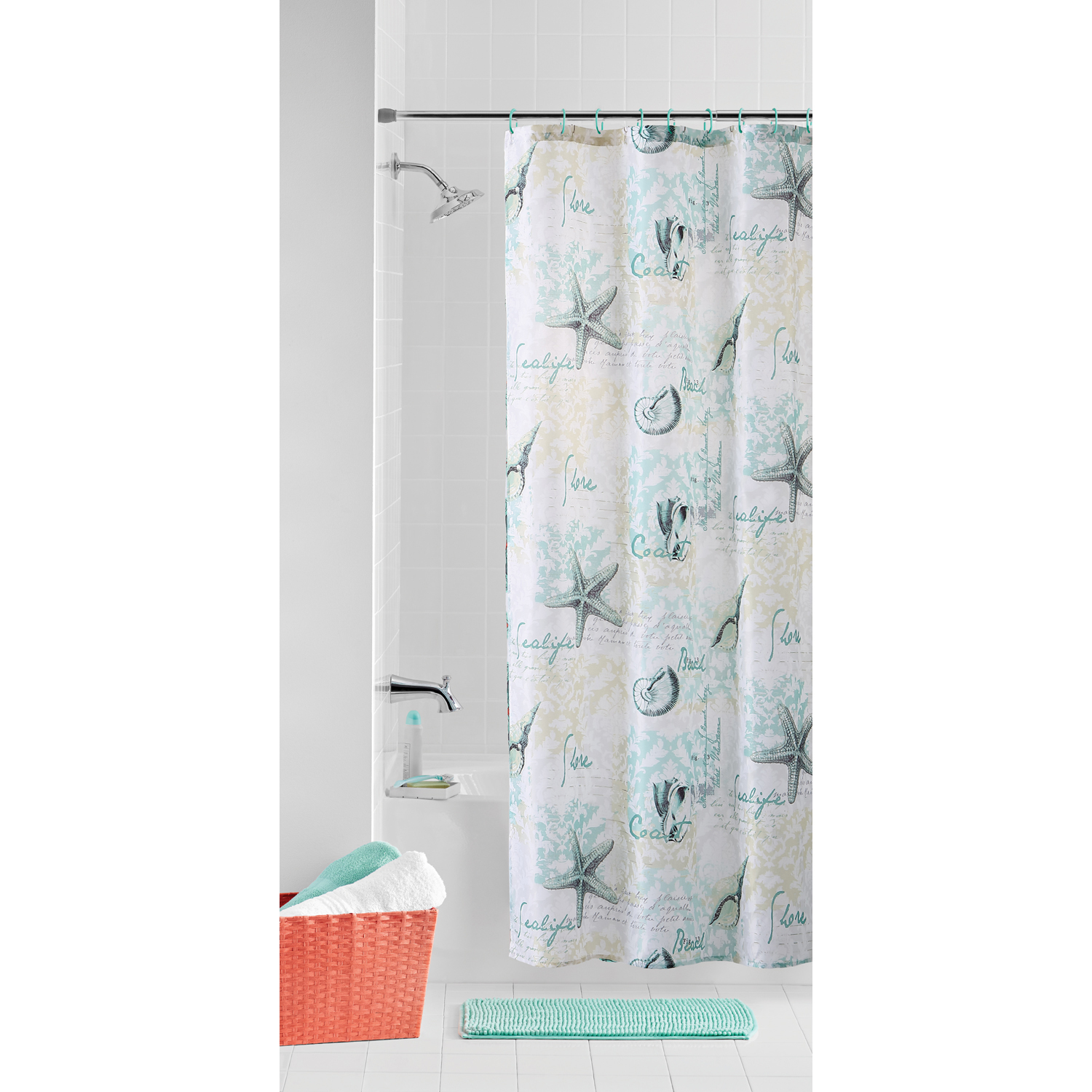 Mainstays 14 Piece Bath Set with Shower Curtain, Noodle ...