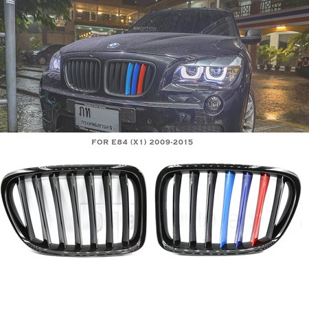 ///M Color BMW 2009-2015 E84 X1 Matte Black Front Kidney Grille Grill 2pcs 2010 2011 2012 2013 2014 ()
