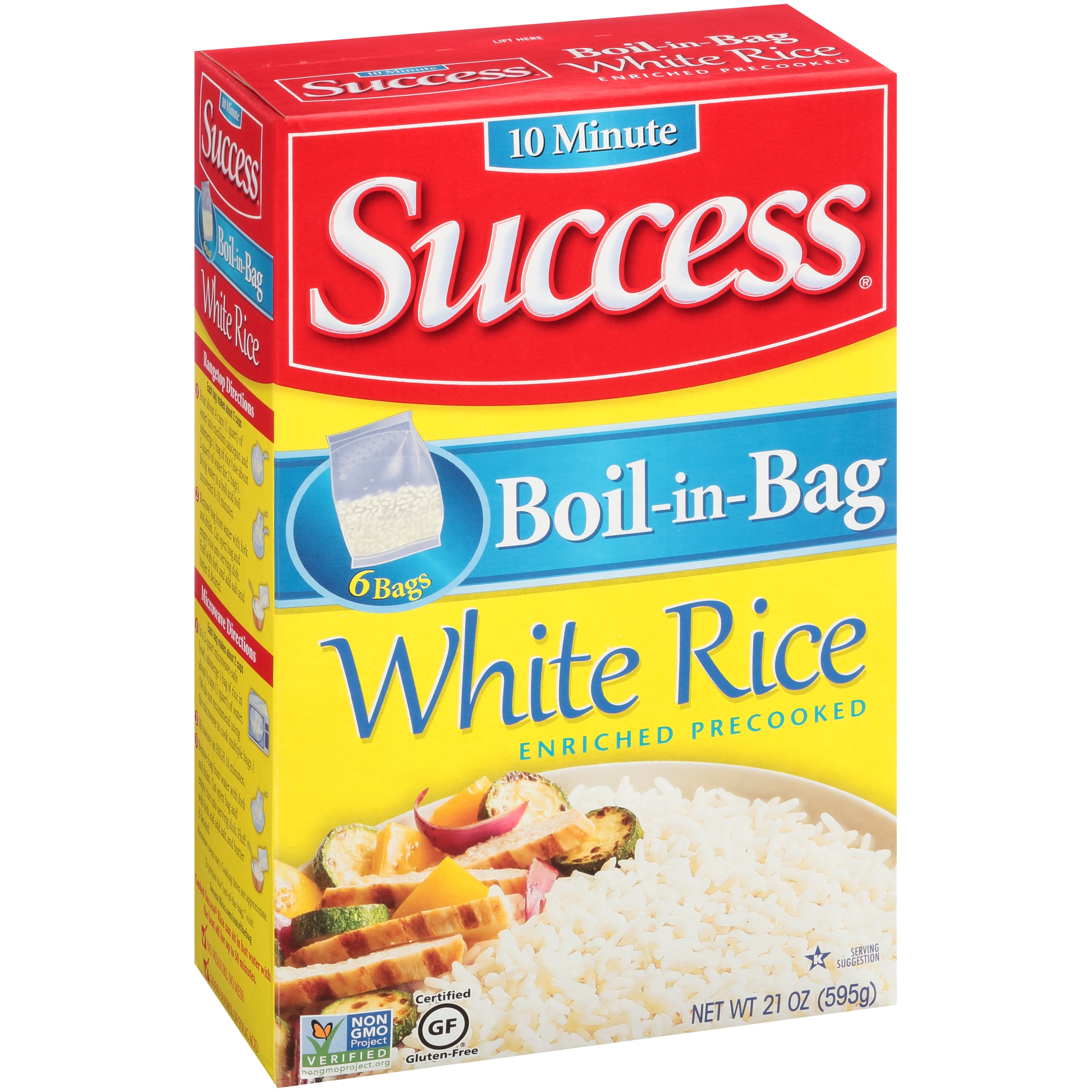 Success White Boil-In Bag 6 Ct Rice 21 Oz Box