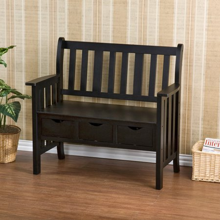 3 Drawer Black Country Bench