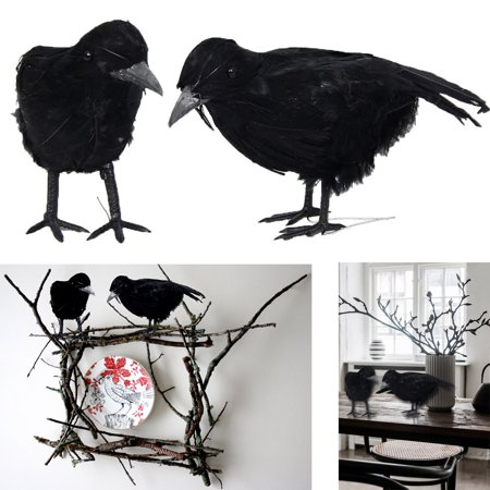 Halloween 2 2017 Party Scene (Dazzling Toys Black Feathered Birds Halloween Prop Party Decoration 2)