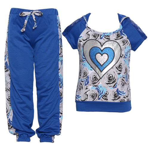 Little Girls Cobalt Blue Sequin Rose Heart Print Hooded 2 Pc Pants Set 2T-6X