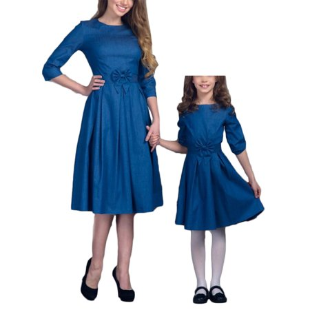 Mommy and Me Matching Half Sleeve Bowknot Midi Swing Dress Princess Party Formal Dress Parent-Child Family Outfits Clothes