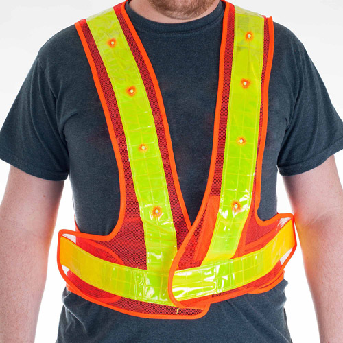 Stalwart 16 LED Flashing Safety Vest, Orange