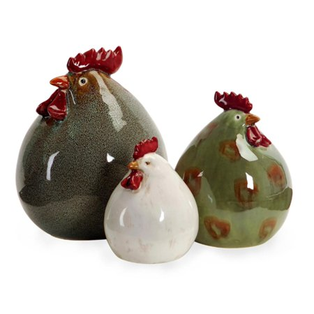 Set of 3 Round Plump Glossy Ceramic Chicken Table Accents