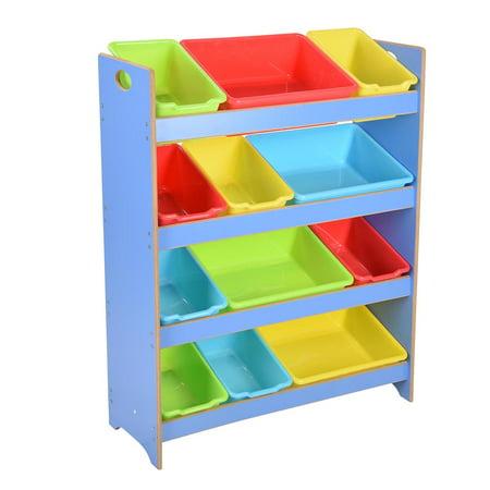 Yescom Kids Toy Organizer Storage Shelf 12 Removable Bins Box Playroom Children Blue