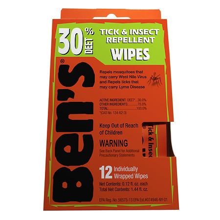 Ben's Tick & Insect Repellent Wipes, 30% Deet 12.0 ea(pack of 3)