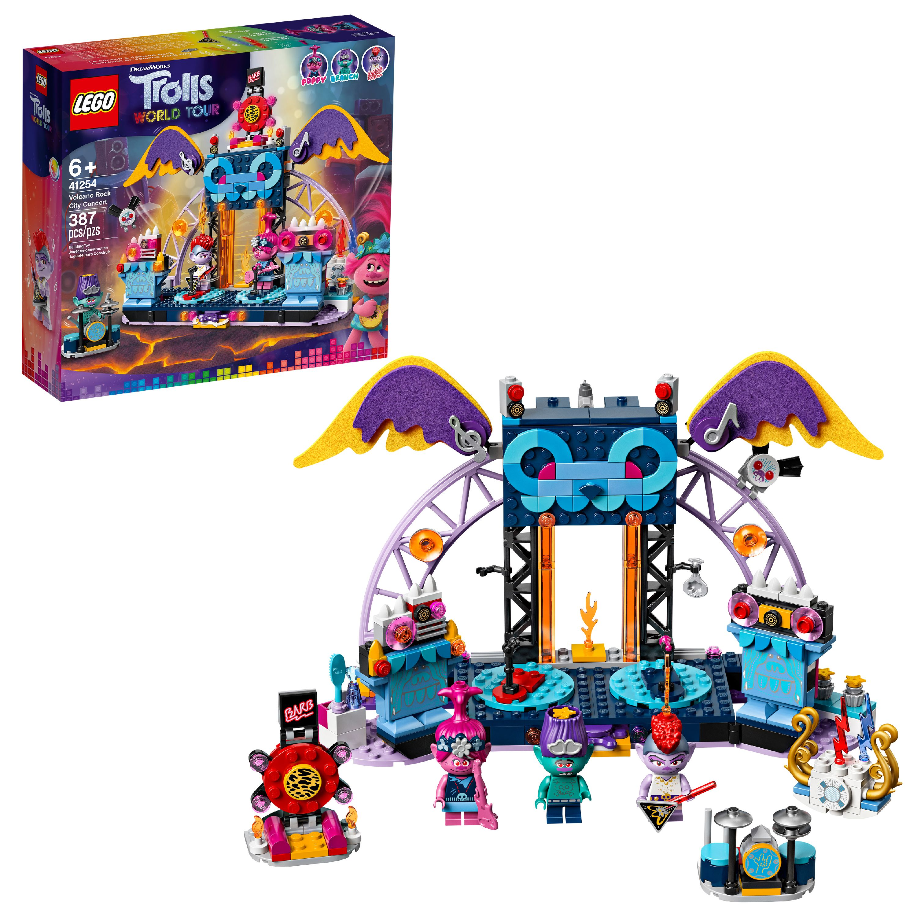 LEGO Trolls World Tour Volcano Rock City Concert Building Kit 41254