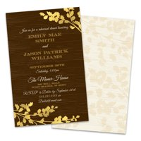 Personalized Golden Leaves Rehearsal Dinner Invitation