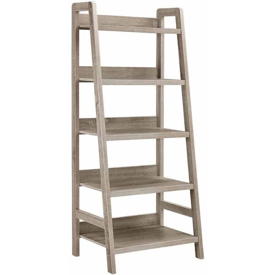Linon Tracey Ladder Bookcase, Grey, 5 Shelves