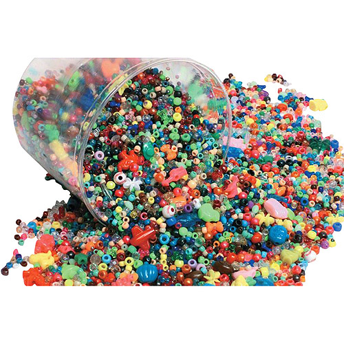 School Smart Plastic Bead, Assorted Size, Assorted Color, 3 lb Bucket, Pack of 3000