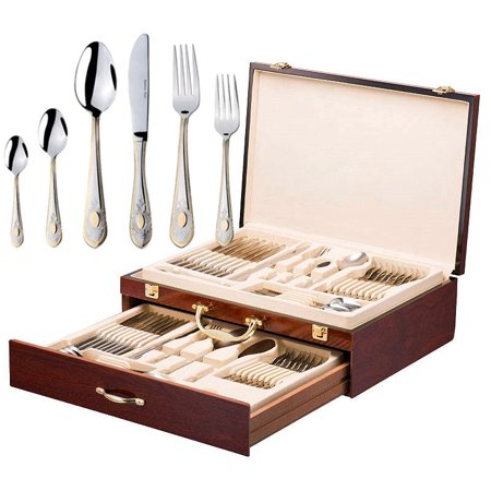 Italian Collection 'Windsor' 75-Pc Premium Flatware Set w/Wooden Storage Case