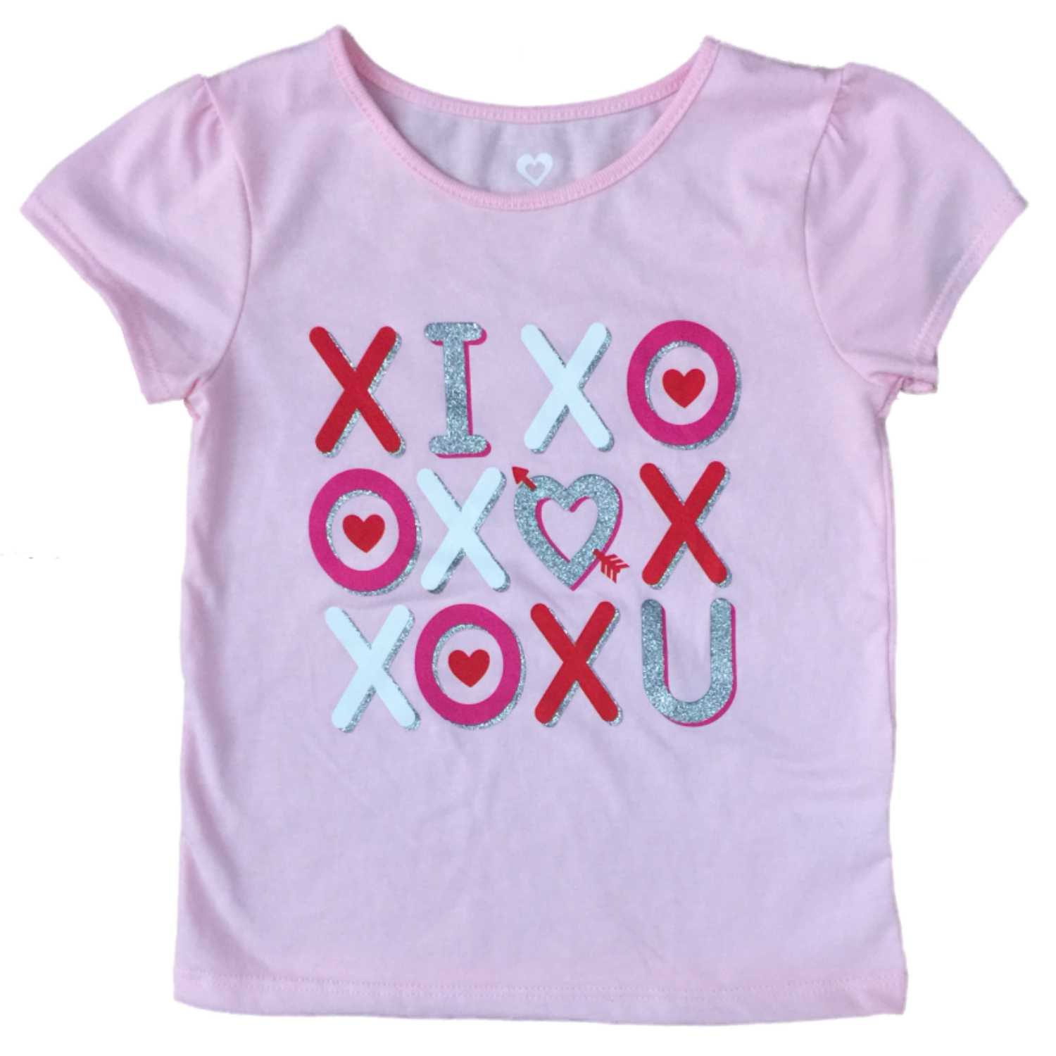 Infant & Toddler Girls Pink I Love You Valentines Day Heart T-Shirt XOXO
