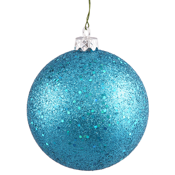 """Turquoise Holographic Glitter Shatterproof Christmas Ball Ornament 4"""" (100mm)"""