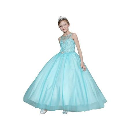 Multi Color Jeweled Flower - Little Girls Aqua Jeweled Bodice Embroidered Flower Girl Dress