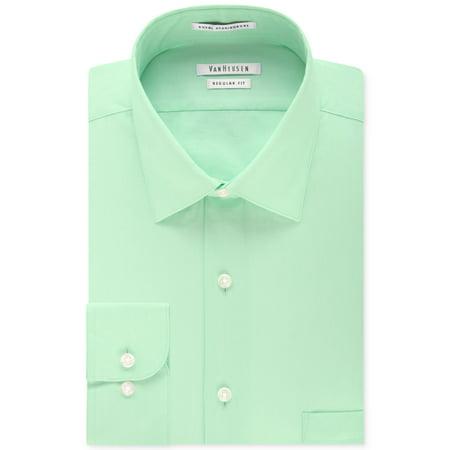 5ba3589b77a1 Van Heusen - Van Heusen NEW Mint Green Mens 16 Herringbone Button Down Dress  Shirt - Walmart.com