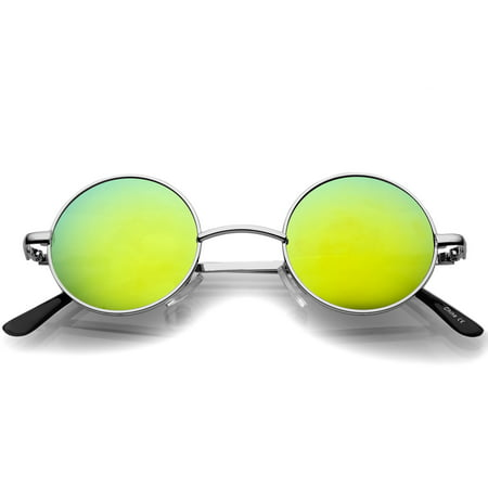 sunglassLA - Small Retro Lennon Style Colored Mirror Lens Round Metal Sunglasses 41mm - (How To Style Round Sunglasses)
