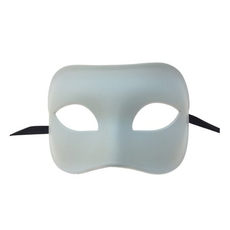 KBW Venetian White Plastic Eye Masquerade Costume Mask, Mardi Gras Domino Formal Phantom One Size Dress Up Halloween Costume Accessory Novelty Costume
