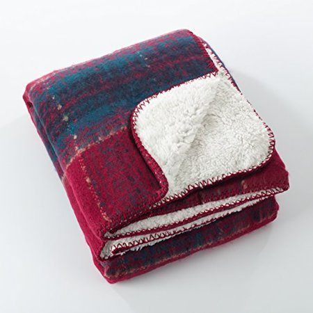 Mohair Throw Blanket (Fennco Styles Sevan Collection Faux Mohair Design Sherpa Throw Blanket (Red))