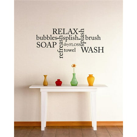Do It Yourself Wall Decal Sticker Bubbles Relax Refresh Wash Bathroom Stylish Decor Mural 20x30