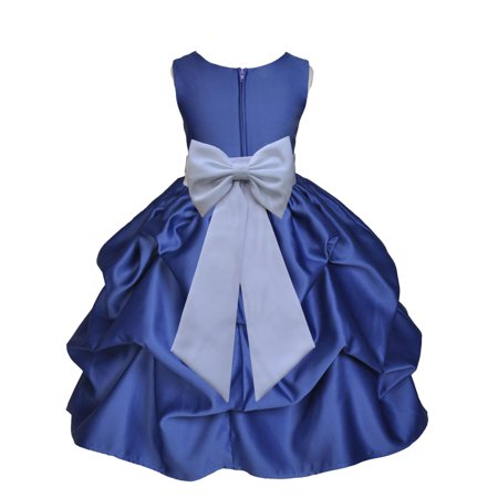 Ekidsbridal Formal Bubble Satin Pick-up Navy Blue Flower Girl Dress Bridesmaid Wedding Pageant Toddler Recital Holiday Communion Birthday Baptism Recpetion Graduation Ceremony Special Occasions 208T - Navy Blue Dress Girl